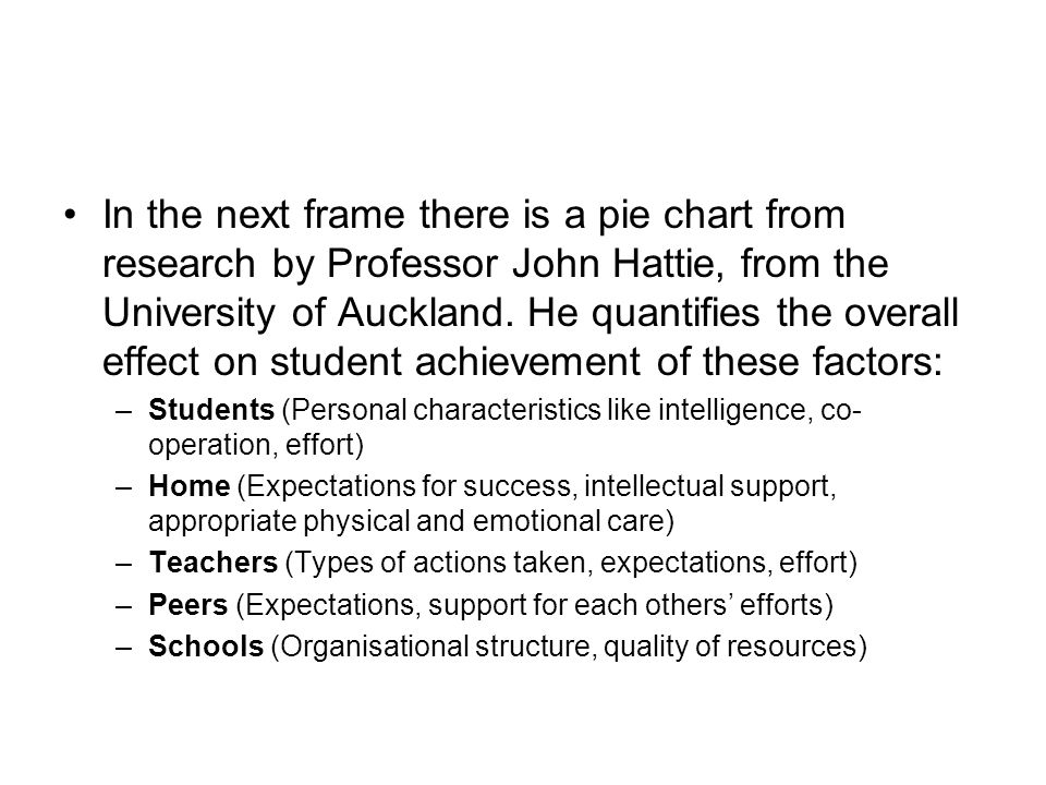 Factors contributing to achievement Match the five sectors of the achievement pie with the factors below: –Students –Home –Teachers –Peers –Schools