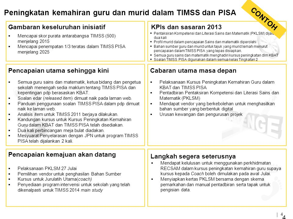 | 4 4 Peningkatan kemahiran guru dan murid dalam TIMSS dan PISA Gambaran keseluruhan inisiatifKPIs dan sasaran 2013 Cabaran utama masa depanPencapaian