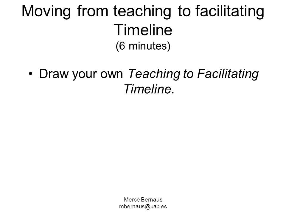 Mercè Bernaus mbernaus@uab.es Moving from teaching to facilitating Timeline (6 minutes) Draw your own Teaching to Facilitating Timeline.