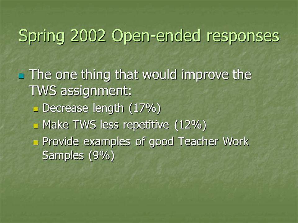 Spring 2002 Open-ended responses The one thing that would improve the TWS assignment: The one thing that would improve the TWS assignment: Decrease length (17%) Decrease length (17%) Make TWS less repetitive (12%) Make TWS less repetitive (12%) Provide examples of good Teacher Work Samples (9%) Provide examples of good Teacher Work Samples (9%)