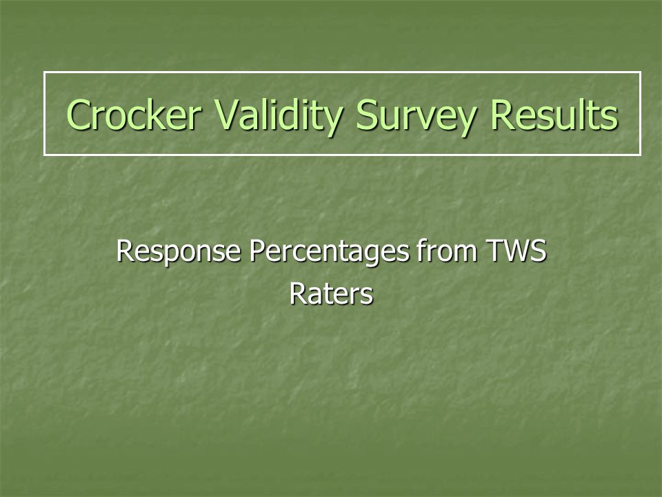 Crocker Validity Survey Results Response Percentages from TWS Raters