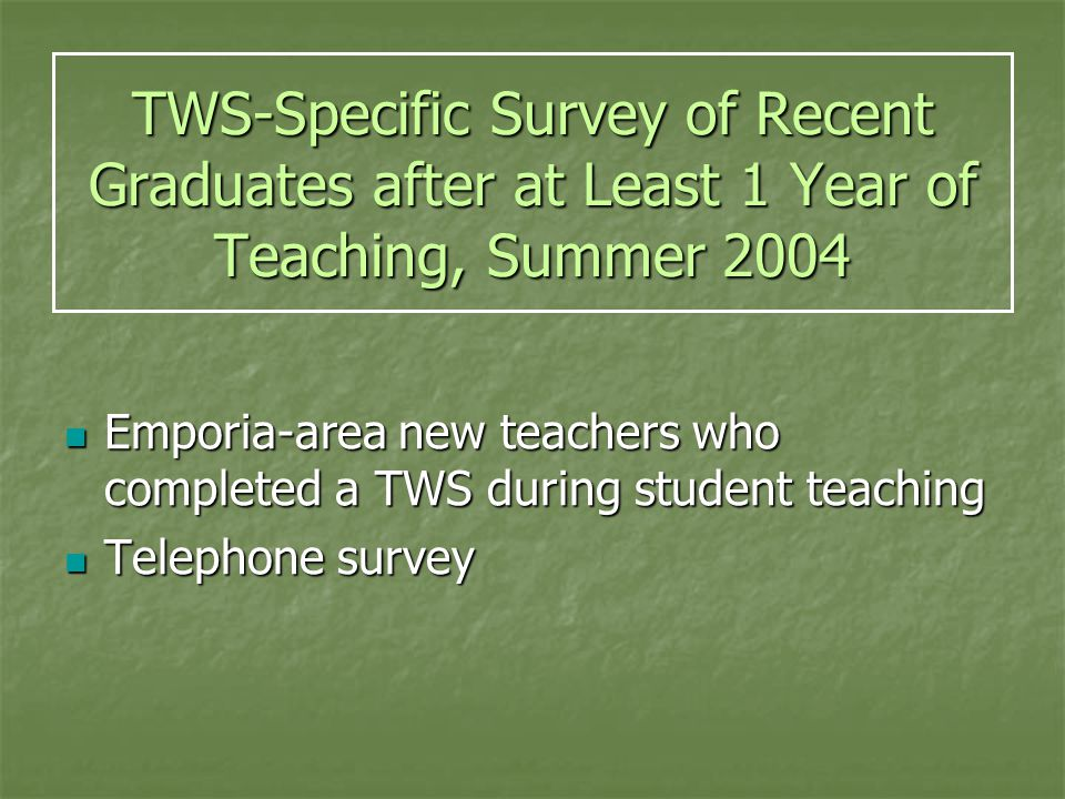 TWS-Specific Survey of Recent Graduates after at Least 1 Year of Teaching, Summer 2004 Emporia-area new teachers who completed a TWS during student teaching Emporia-area new teachers who completed a TWS during student teaching Telephone survey Telephone survey