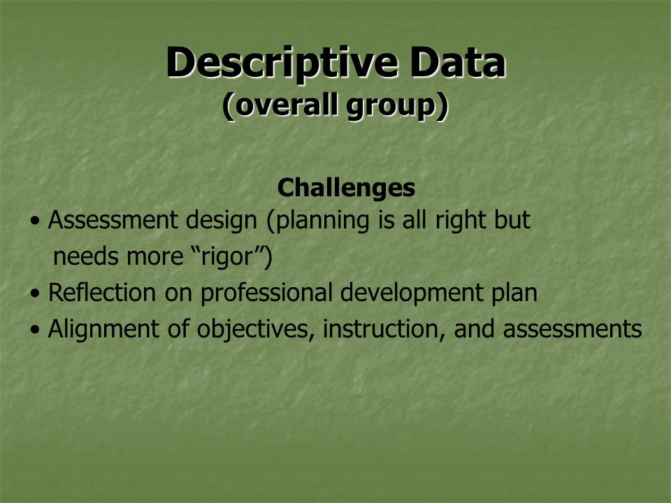 Descriptive Data (overall group) Challenges Assessment design (planning is all right but needs more rigor ) Reflection on professional development plan Alignment of objectives, instruction, and assessments