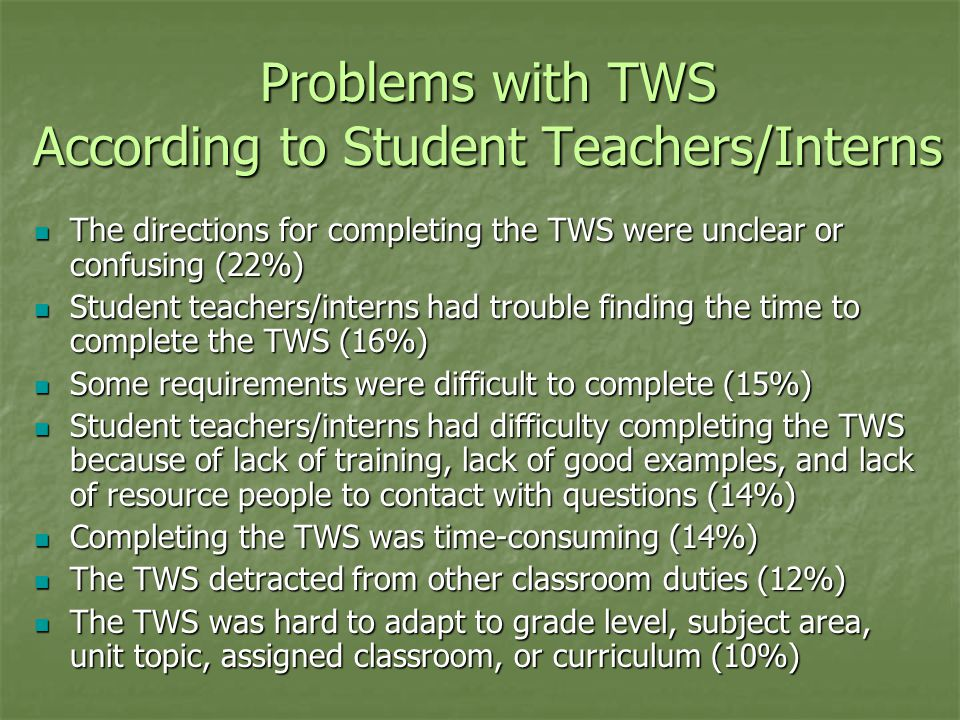 Problems with TWS According to Student Teachers/Interns The directions for completing the TWS were unclear or confusing (22%) The directions for completing the TWS were unclear or confusing (22%) Student teachers/interns had trouble finding the time to complete the TWS (16%) Student teachers/interns had trouble finding the time to complete the TWS (16%) Some requirements were difficult to complete (15%) Some requirements were difficult to complete (15%) Student teachers/interns had difficulty completing the TWS because of lack of training, lack of good examples, and lack of resource people to contact with questions (14%) Student teachers/interns had difficulty completing the TWS because of lack of training, lack of good examples, and lack of resource people to contact with questions (14%) Completing the TWS was time-consuming (14%) Completing the TWS was time-consuming (14%) The TWS detracted from other classroom duties (12%) The TWS detracted from other classroom duties (12%) The TWS was hard to adapt to grade level, subject area, unit topic, assigned classroom, or curriculum (10%) The TWS was hard to adapt to grade level, subject area, unit topic, assigned classroom, or curriculum (10%)