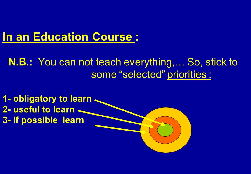 In an Education Course : N.B.: You can not teach everything,… So, stick to some selected priorities : 1- obligatory to learn 2- useful to learn 3- if possible learn