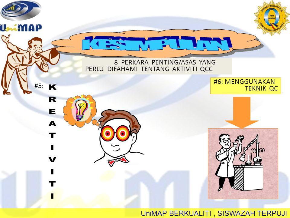UniMAP BERKUALITI, SISWAZAH TERPUJI #7: PEMBANGUNAN BERSAMA #8: KESEDARAN Q, KESEDARAN MASALAH & KESEDARAN PENAMBAHBAIKAN PEKERJA MAJIKAN 8 PERKARA PENTING/ASAS YANG PERLU DIFAHAMI TENTANG AKTIVITI QCC