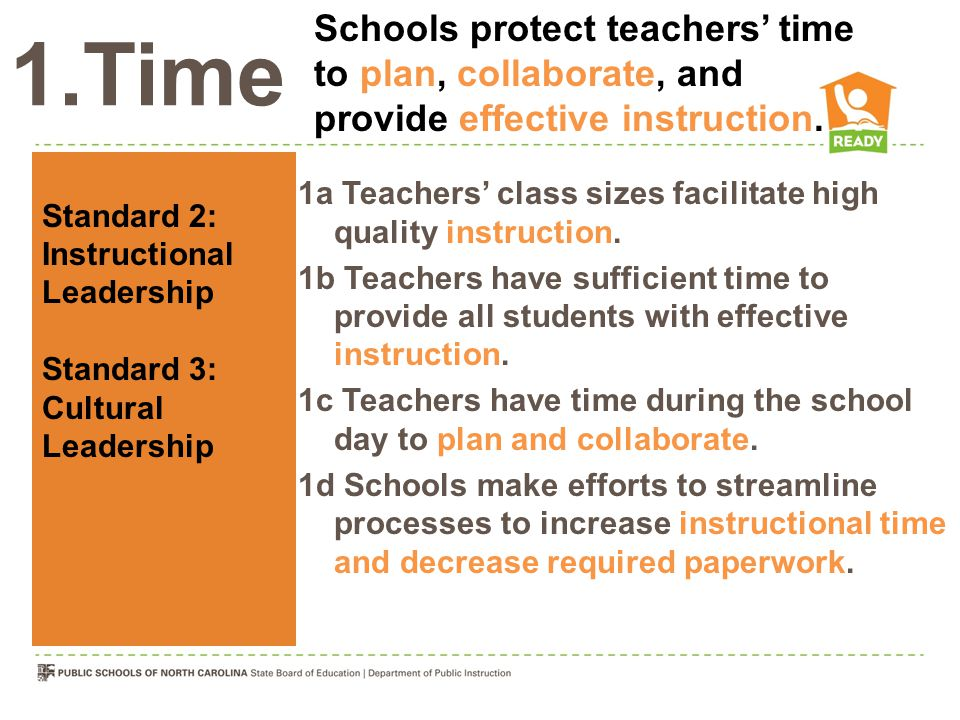 1.Time 1a Teachers' class sizes facilitate high quality instruction.