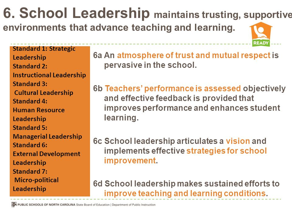 6. School Leadership maintains trusting, supportive environments that advance teaching and learning. 6a An atmosphere of trust and mutual respect is p