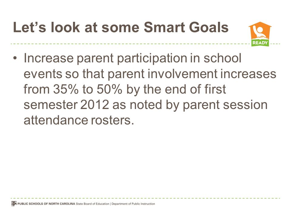 Let's look at some Smart Goals Increase parent participation in school events so that parent involvement increases from 35% to 50% by the end of first semester 2012 as noted by parent session attendance rosters.