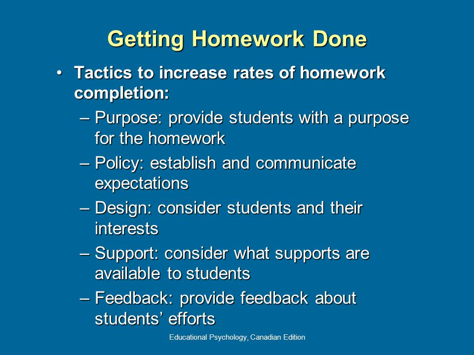 Educational Psychology, Canadian Edition Getting Homework Done Tactics to increase rates of homework completion:Tactics to increase rates of homework completion: –Purpose: provide students with a purpose for the homework –Policy: establish and communicate expectations –Design: consider students and their interests –Support: consider what supports are available to students –Feedback: provide feedback about students' efforts