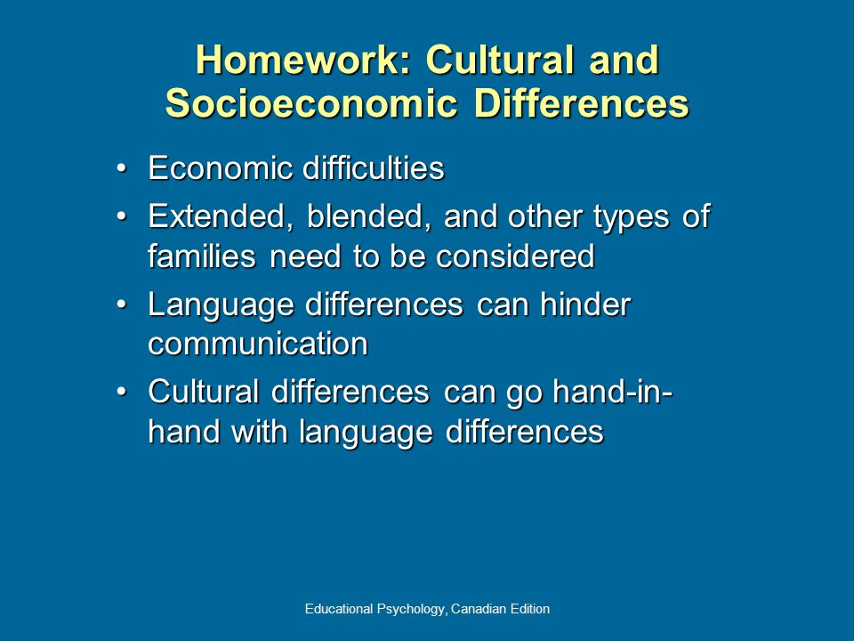 Educational Psychology, Canadian Edition Homework: Cultural and Socioeconomic Differences Economic difficultiesEconomic difficulties Extended, blended, and other types of families need to be consideredExtended, blended, and other types of families need to be considered Language differences can hinder communicationLanguage differences can hinder communication Cultural differences can go hand-in- hand with language differencesCultural differences can go hand-in- hand with language differences