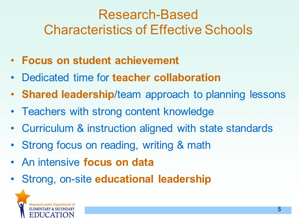 5 Research-Based Characteristics of Effective Schools Focus on student achievement Dedicated time for teacher collaboration Shared leadership/team app