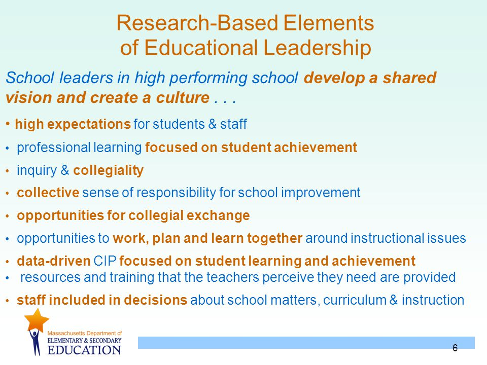 6 Research-Based Elements of Educational Leadership School leaders in high performing school develop a shared vision and create a culture... high expe