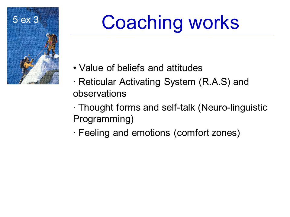 Coaching works Value of beliefs and attitudes · Reticular Activating System (R.A.S) and observations ·  Thought forms and self-talk (Neuro-linguistic