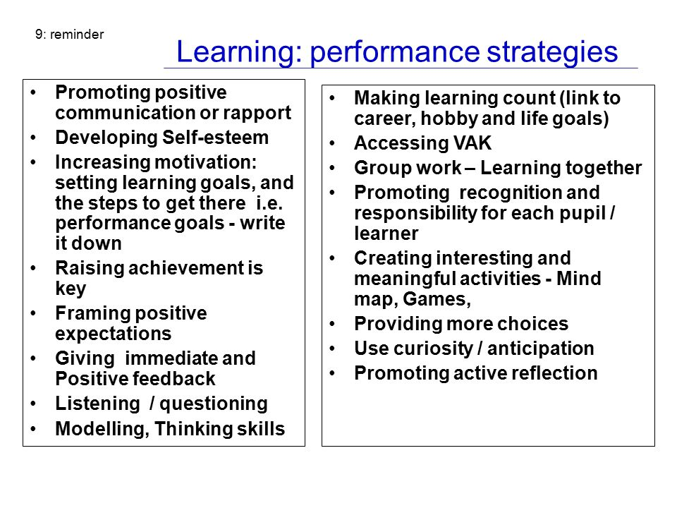 Learning: performance strategies Promoting positive communication or rapport Developing Self-esteem Increasing motivation: setting learning goals, and