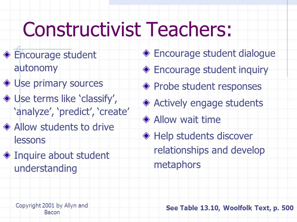 Copyright 2001 by Allyn and Bacon The Teacher in Student- Centered Instruction