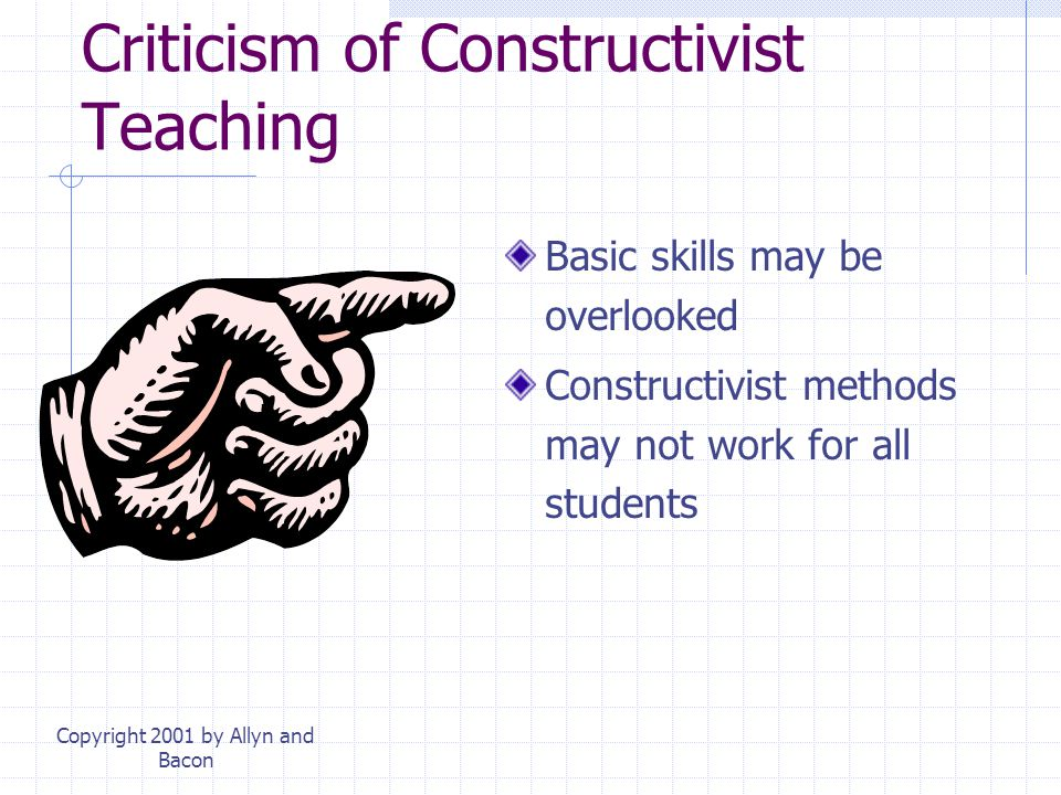 Copyright 2001 by Allyn and Bacon Learning Science Existing misconceptions Teach student self-examination: Does the concept make sense? Goal: conceptu