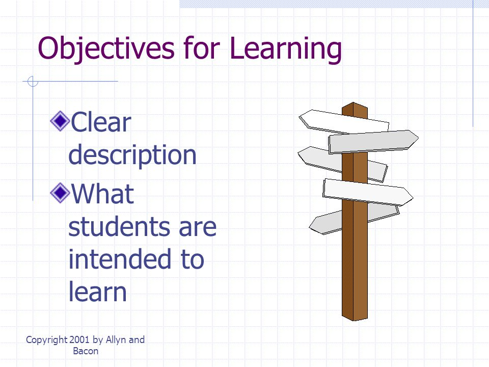 Copyright 2001 by Allyn and Bacon Objectives for Learning Clear description What students are intended to learn