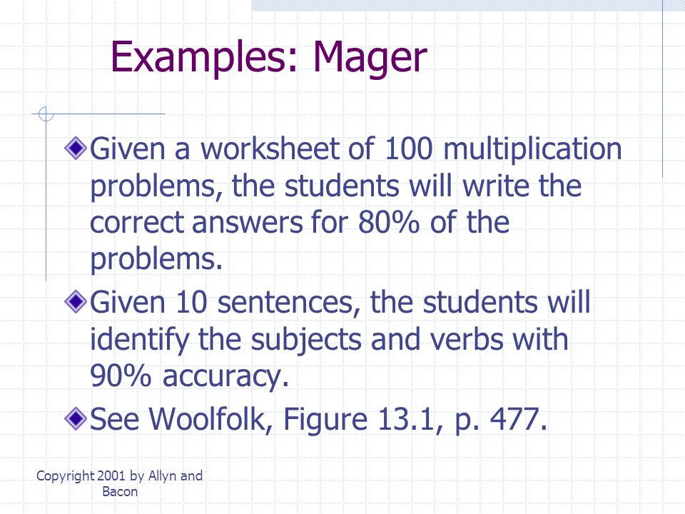 Copyright 2001 by Allyn and Bacon Examples: Mager Given a worksheet of 100 multiplication problems, the students will write the correct answers for 80% of the problems.