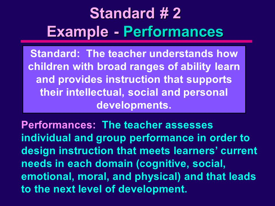 Standard # 2 Example - Performances Standard: The teacher understands how children with broad ranges of ability learn and provides instruction that supports their intellectual, social and personal developments.