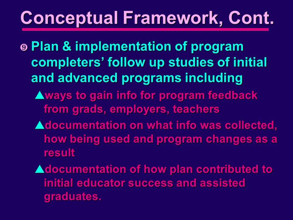 Conceptual Framework, Cont.