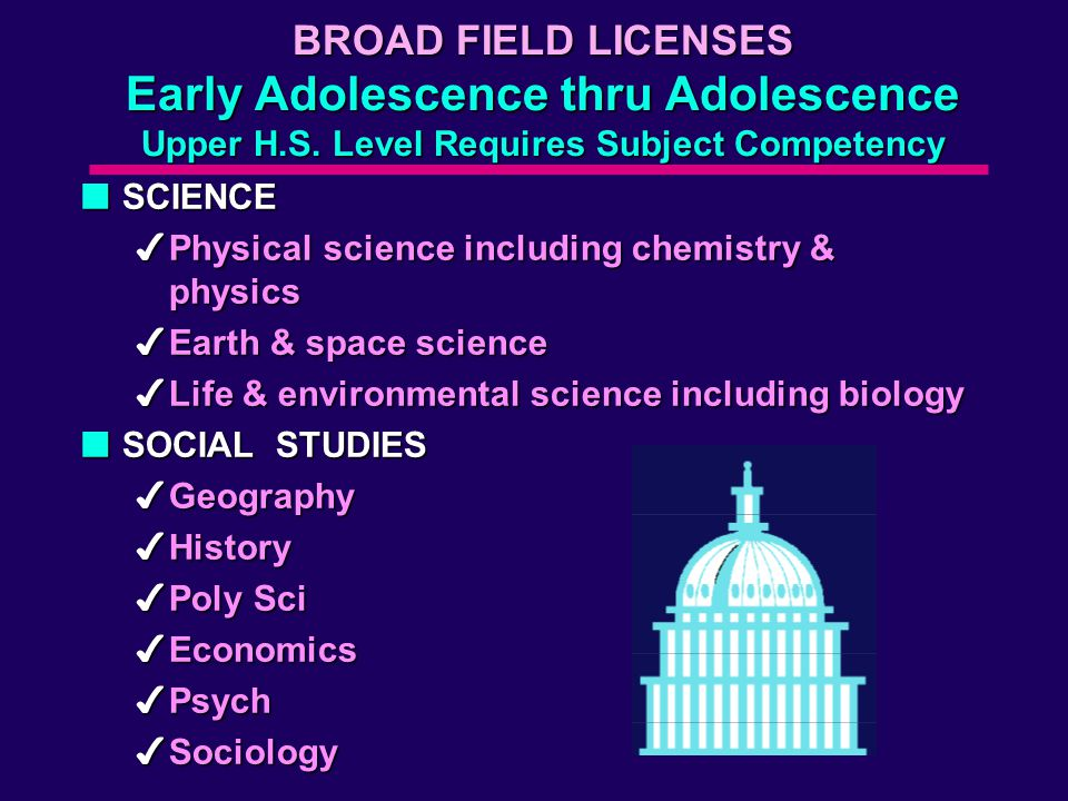 BROAD FIELD LICENSES Early Adolescence thru Adolescence Upper H.S.