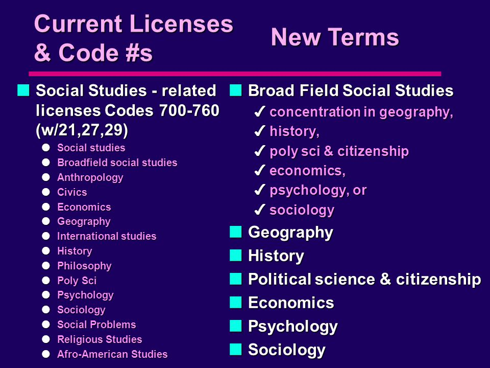 Current Licenses & Code #s nSocial Studies - related licenses Codes 700-760 (w/21,27,29) lSocial studies lBroadfield social studies lAnthropology lCivics lEconomics lGeography lInternational studies lHistory lPhilosophy lPoly Sci lPsychology lSociology lSocial Problems lReligious Studies lAfro-American Studies nBroad Field Social Studies 4concentration in geography, 4history, 4poly sci & citizenship 4economics, 4psychology, or 4sociology nGeography nHistory nPolitical science & citizenship nEconomics nPsychology nSociology New Terms