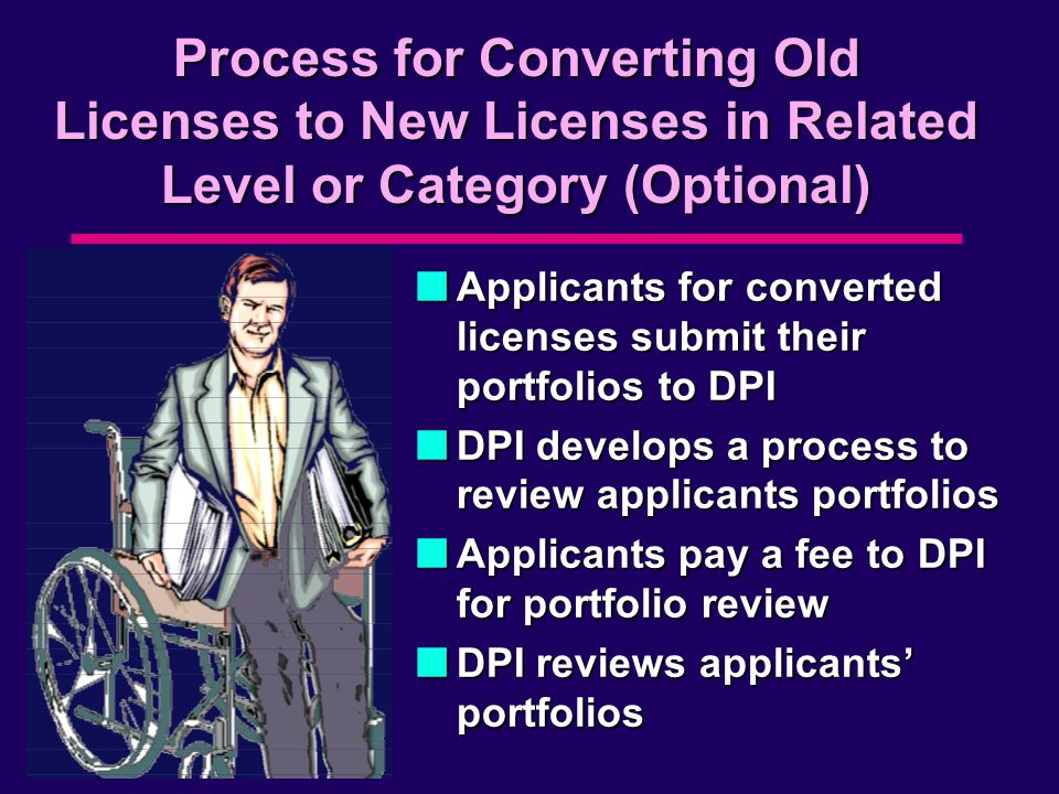 Process for Converting Old Licenses to New Licenses in Related Level or Category (Optional) nApplicants for converted licenses submit their portfolios to DPI nDPI develops a process to review applicants portfolios nApplicants pay a fee to DPI for portfolio review nDPI reviews applicants' portfolios