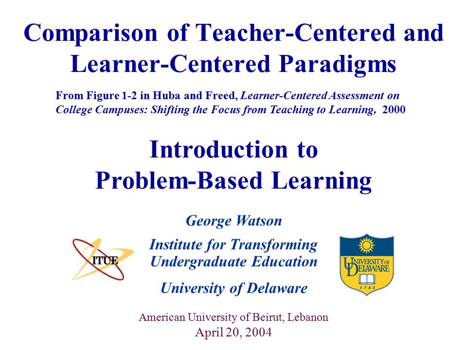Comparison of Teacher-Centered and Learner-Centered Paradigms From Figure 1-2 in Huba and Freed, Learner-Centered Assessment on College Campuses: Shifting the Focus from Teaching to Learning, 2000 Introduction to Problem-Based Learning University of Delaware Institute for Transforming Undergraduate Education American University of Beirut, Lebanon April 20, 2004 George Watson