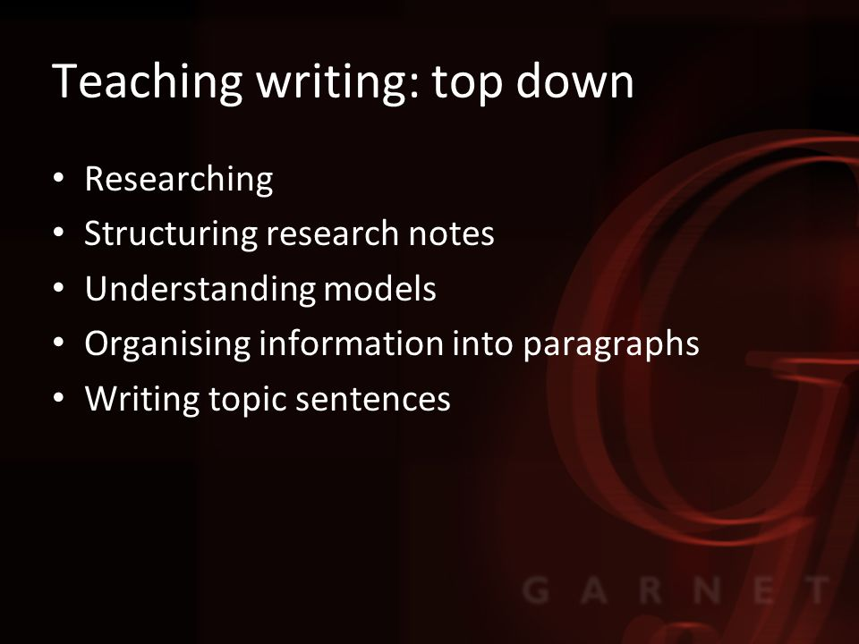 Teaching writing: top down Researching Structuring research notes Understanding models Organising information into paragraphs Writing topic sentences