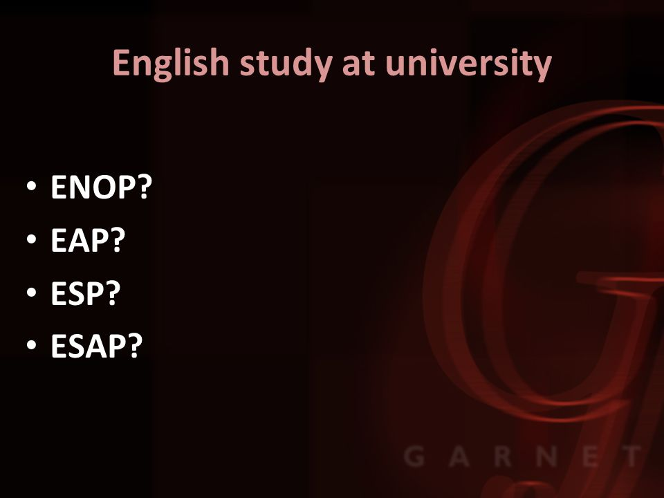 English study at university ENOP EAP ESP ESAP