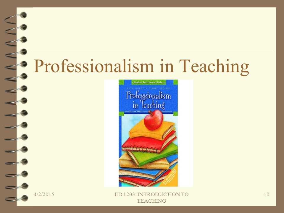 Professionalism in Teaching 4/2/2015ED 1203: INTRODUCTION TO TEACHING 10
