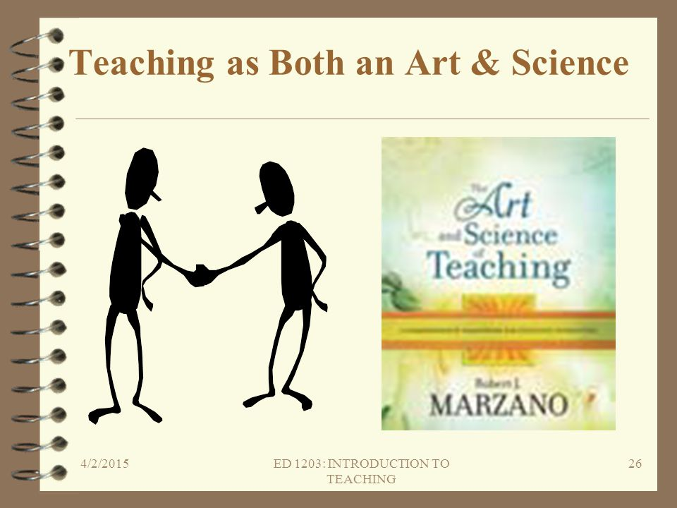 Teaching as Both an Art & Science 4/2/2015ED 1203: INTRODUCTION TO TEACHING 26