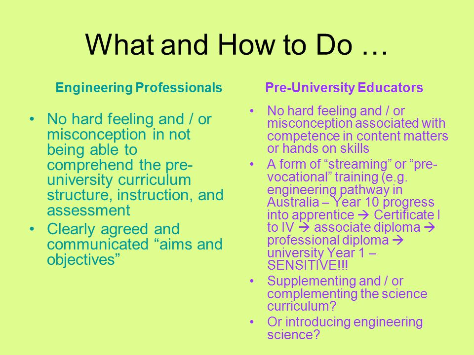 What and How to Do … No hard feeling and / or misconception in not being able to comprehend the pre- university curriculum structure, instruction, and assessment Clearly agreed and communicated aims and objectives No hard feeling and / or misconception associated with competence in content matters or hands on skills A form of streaming or pre- vocational training (e.g.