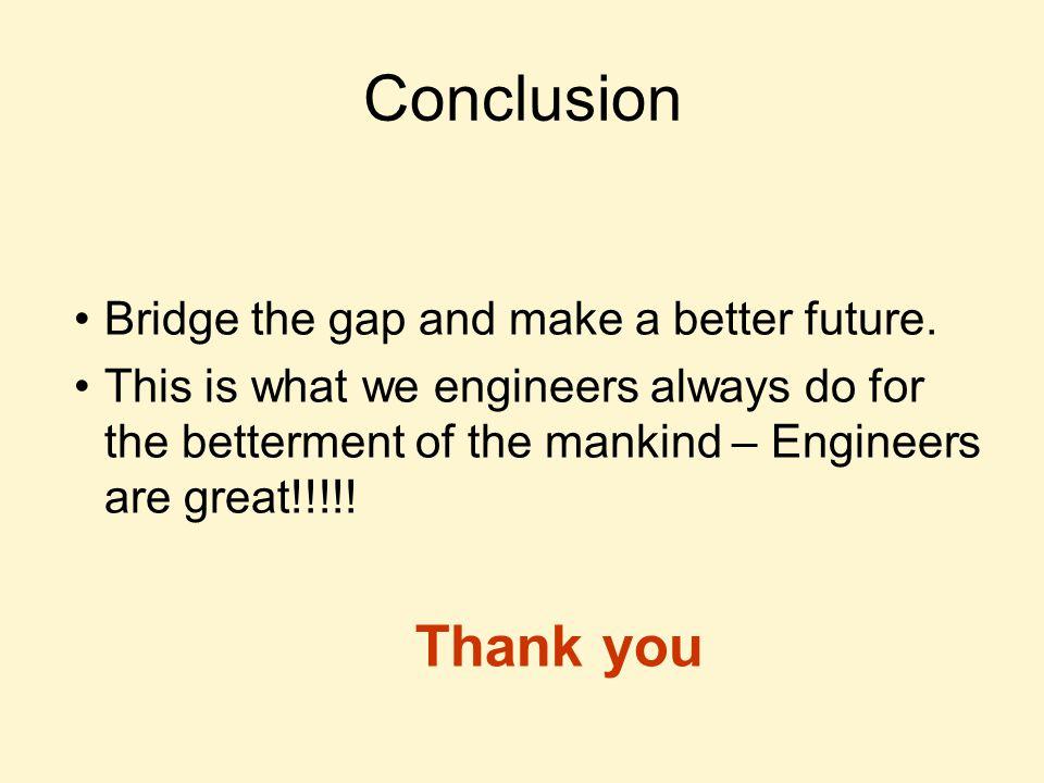 Conclusion Bridge the gap and make a better future.