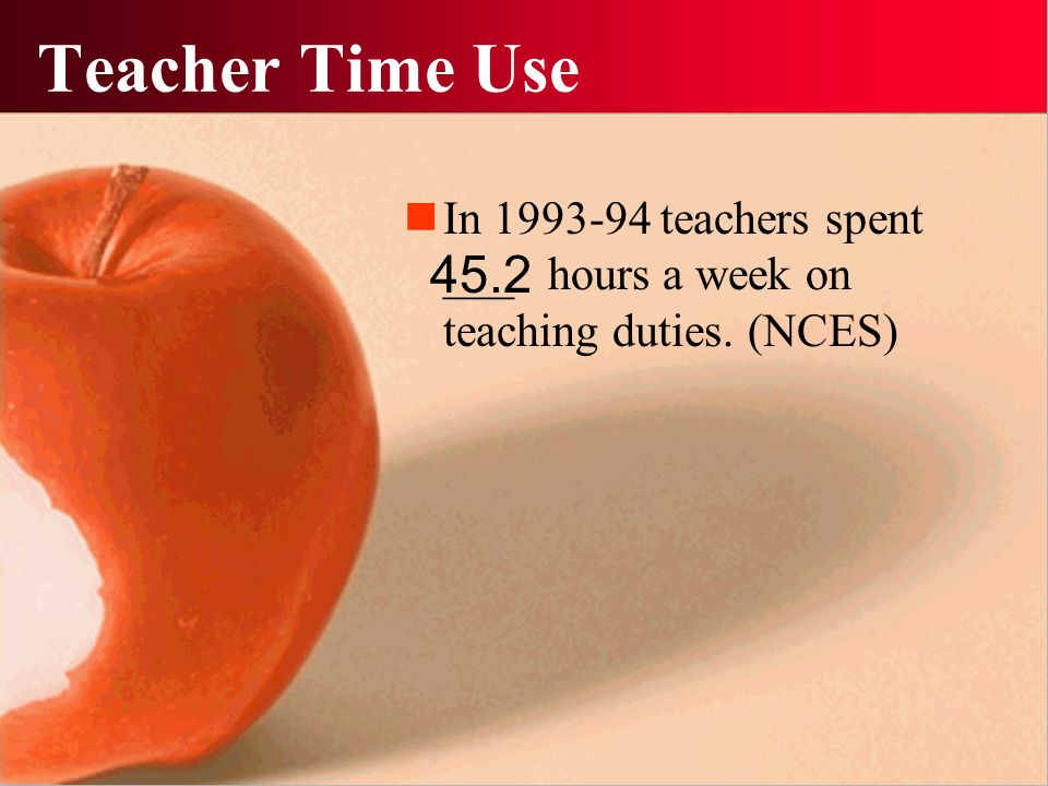Teacher Time Use In 1993-94 teachers spent ___ hours a week on teaching duties. (NCES) 45.2