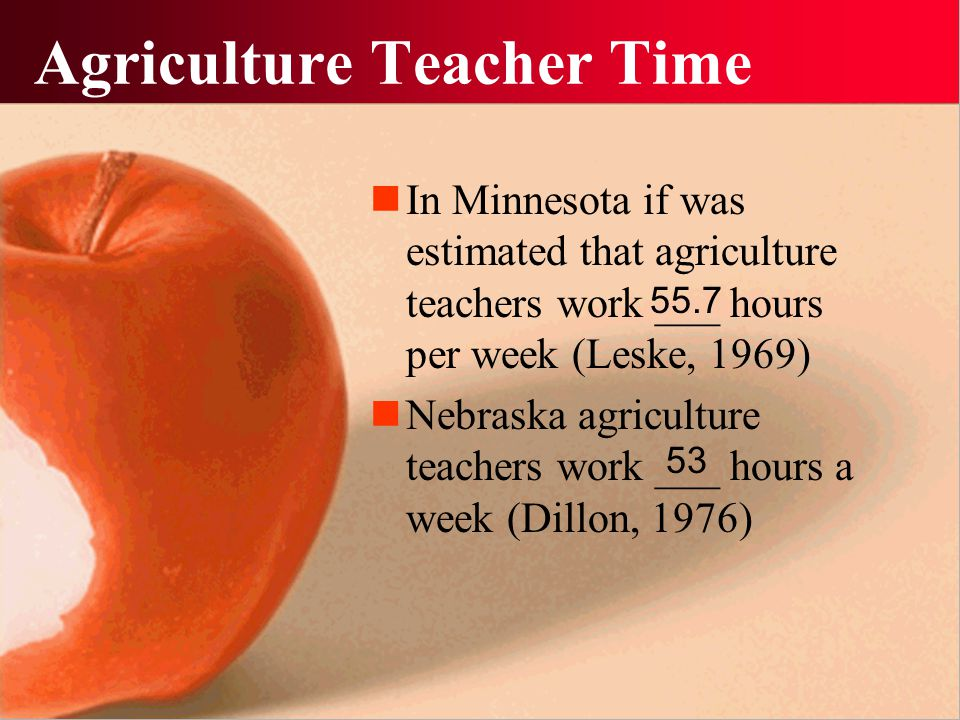 Agriculture Teacher Time In Minnesota if was estimated that agriculture teachers work ___ hours per week (Leske, 1969) Nebraska agriculture teachers w