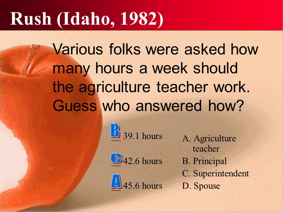 Rush (Idaho, 1982) __ 39.1 hours __ 42.6 hours __ 45.6 hours A. Agriculture teacher B. Principal C. Superintendent D. Spouse Various folks were asked