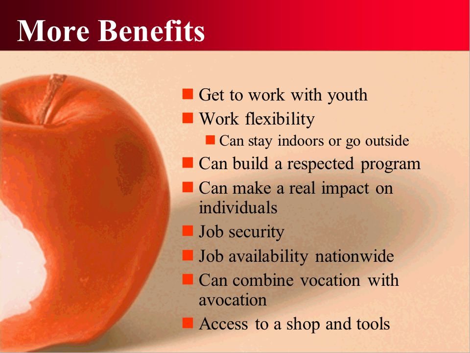 More Benefits Get to work with youth Work flexibility Can stay indoors or go outside Can build a respected program Can make a real impact on individua