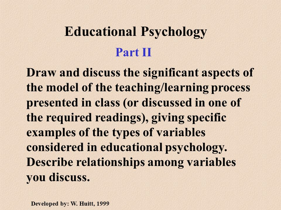 Educational Psychology Draw and discuss the significant aspects of the model of the teaching/learning process presented in class (or discussed in one