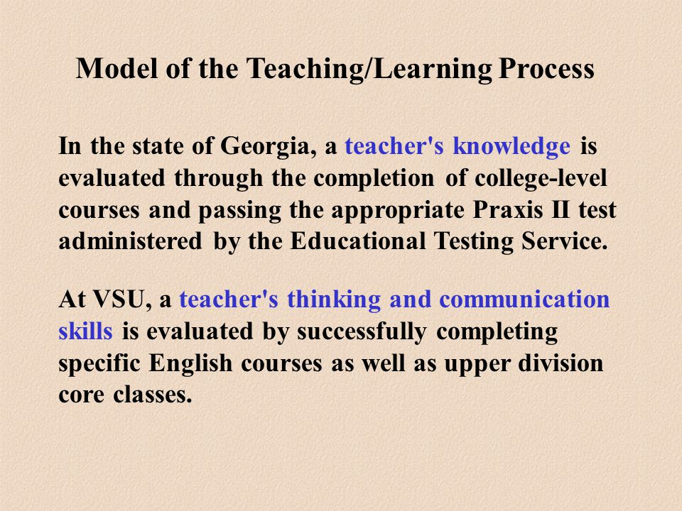 In the state of Georgia, a teacher s knowledge is evaluated through the completion of college-level courses and passing the appropriate Praxis II test administered by the Educational Testing Service.