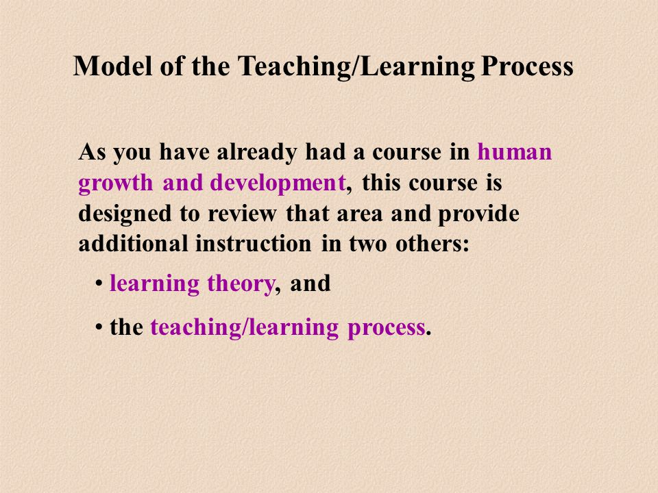 As you have already had a course in human growth and development, this course is designed to review that area and provide additional instruction in two others: learning theory, and the teaching/learning process.