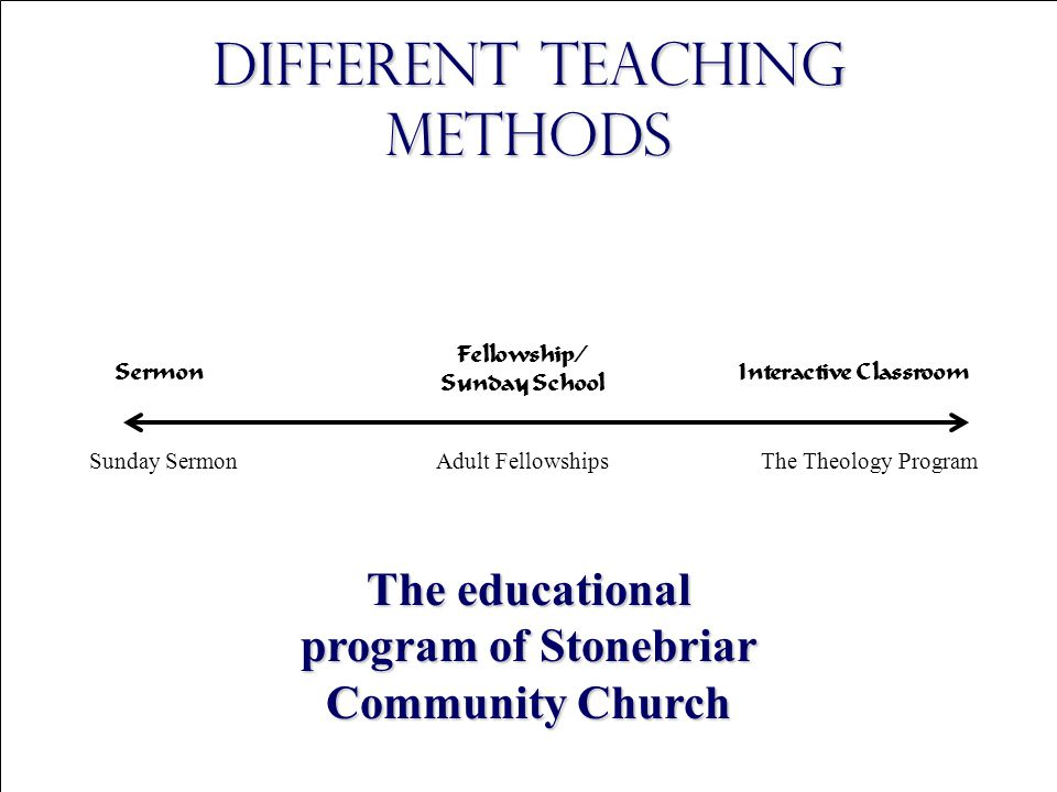 Copyright © 2004 The Theology Program, Stonebriar Community Church Sermon Fellowship/ Sunday School Interactive Classroom Different Teaching Methods Sunday SermonThe Theology Program The educational program of Stonebriar Community Church Adult Fellowships