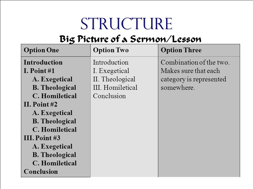 Copyright © 2004 The Theology Program, Stonebriar Community Church Structure Option OneOption TwoOption Three Introduction I.