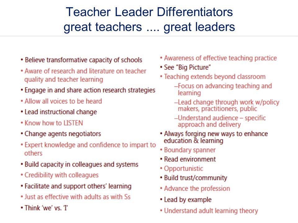Teacher Leader Differentiators great teachers.... great leaders