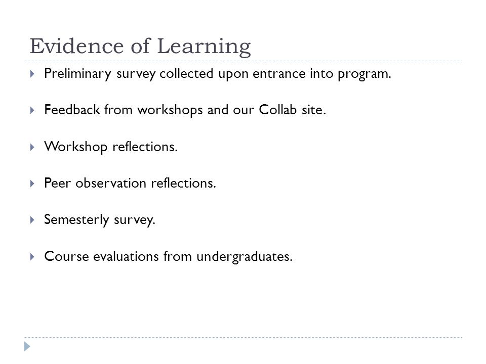 Evidence of Learning  Preliminary survey collected upon entrance into program.