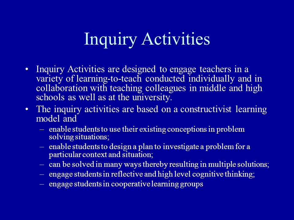 Inquiry Activity 12.1: Exploring Internet-Based Pedagogies In this inquiry you will become familiar with 6 Internet-based pedagogies, anyone of which you can used to design a web- based science activity.