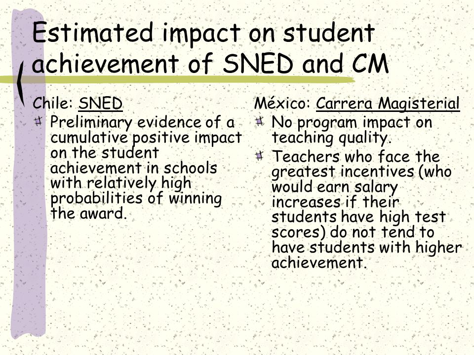 Estimated impact on student achievement of SNED and CM Chile: SNED Preliminary evidence of a cumulative positive impact on the student achievement in schools with relatively high probabilities of winning the award.
