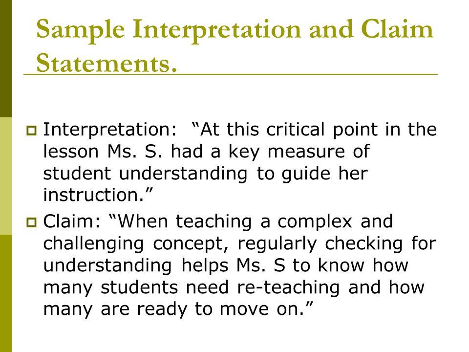 Sample Interpretation and Claim Statements.