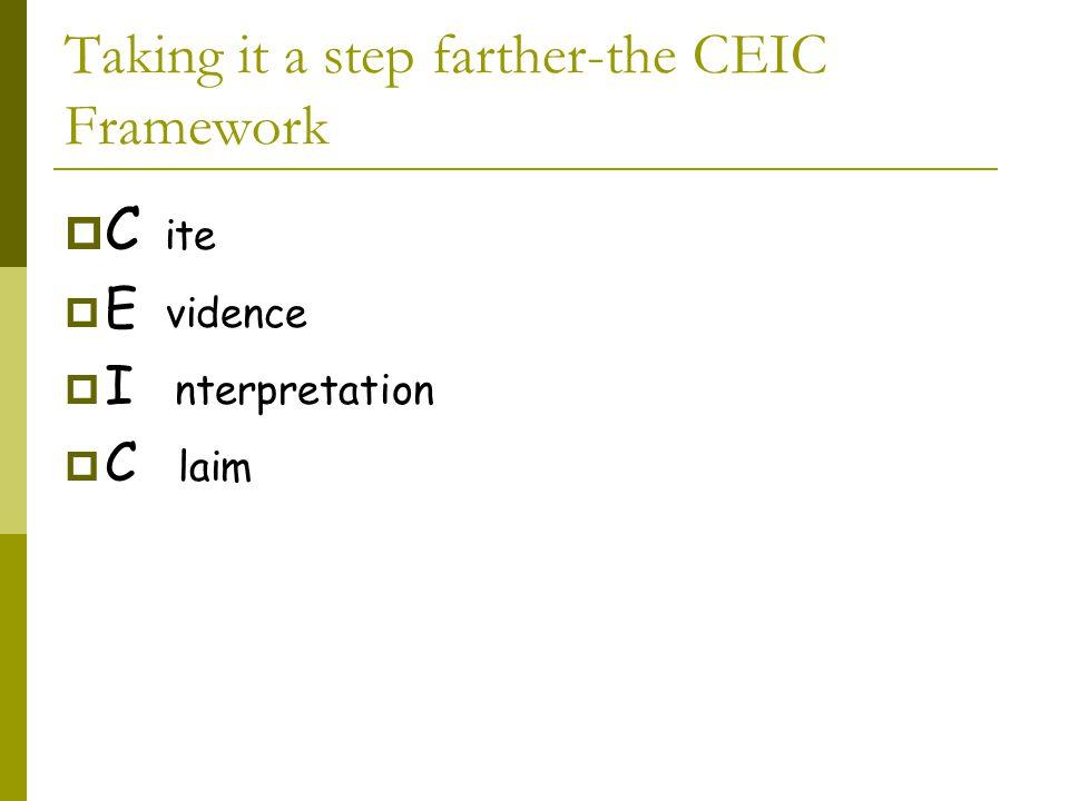 Taking it a step farther-the CEIC Framework  C ite  E vidence  I nterpretation  C laim